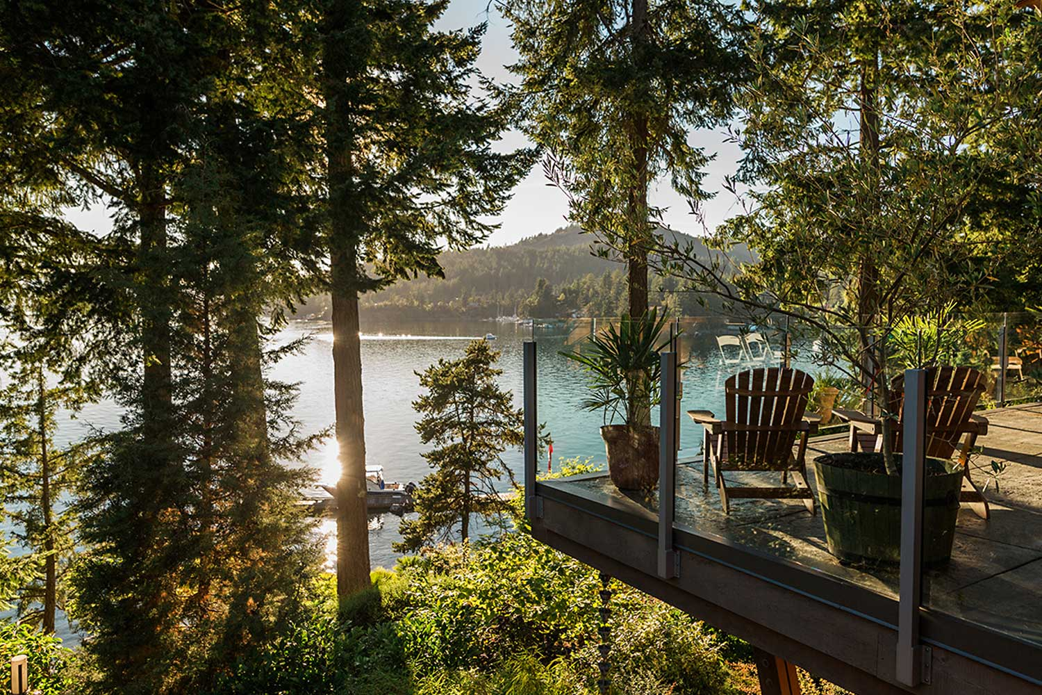Stunning views of Pender Harbour from the upper deck of House 63, a luxury vacation home rental on the Sunshine Coast.