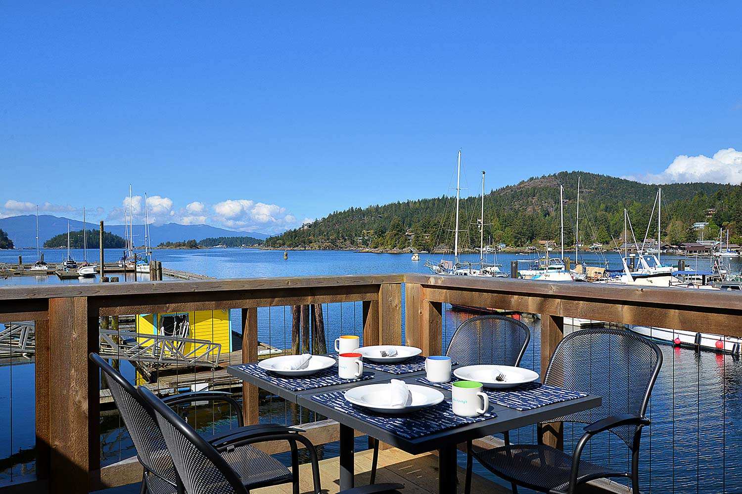 John Henry's Cafe is a marina restaurant with outdoor seating overlooking Pender Harbour, British Columbia.