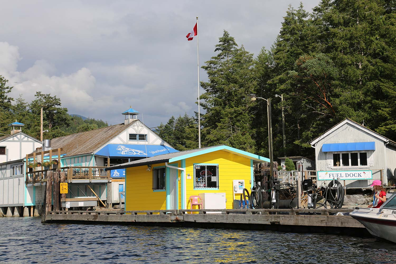 The fuel dock at John Henry's Marina & Resort. Marine gas and diesel available.