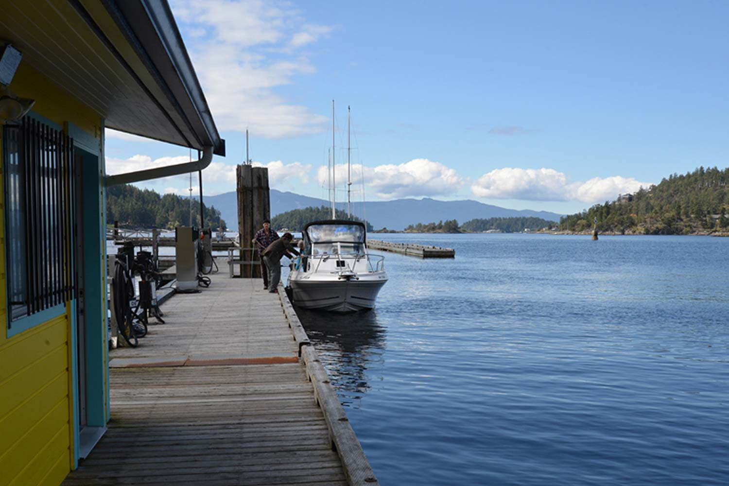 A boat awaits refuelling at the only Pender Harbour marine fuel dock. Commercial and recreational vessels use this fuel dock.