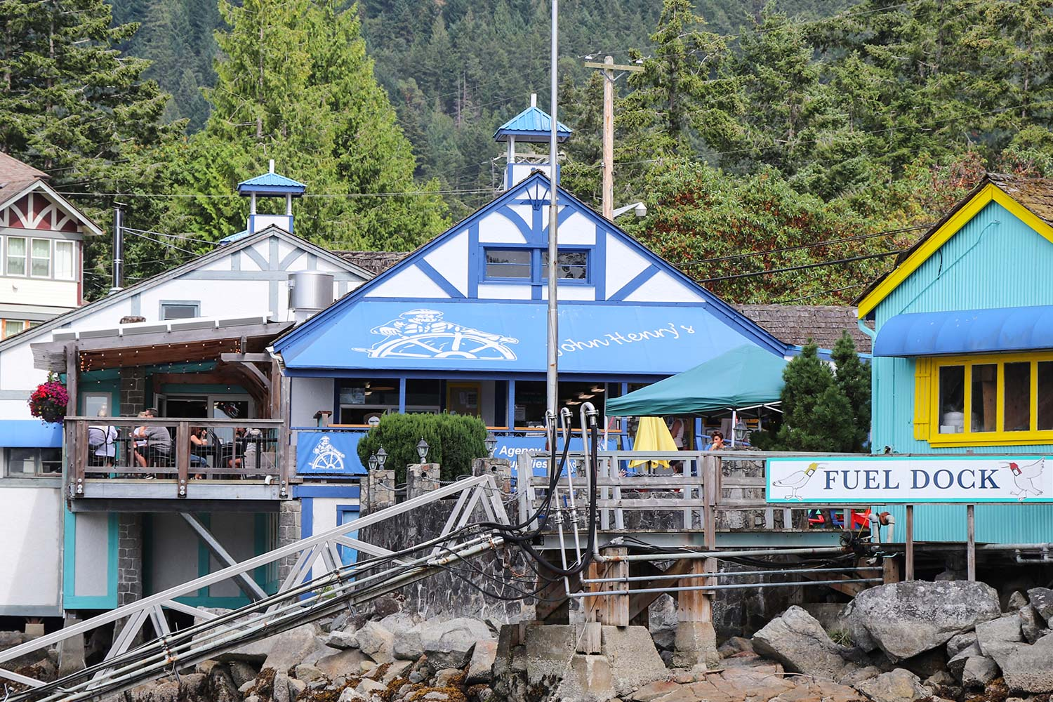 A view of John Henry's General Store & Cafe from the Marina Fuel Dock.