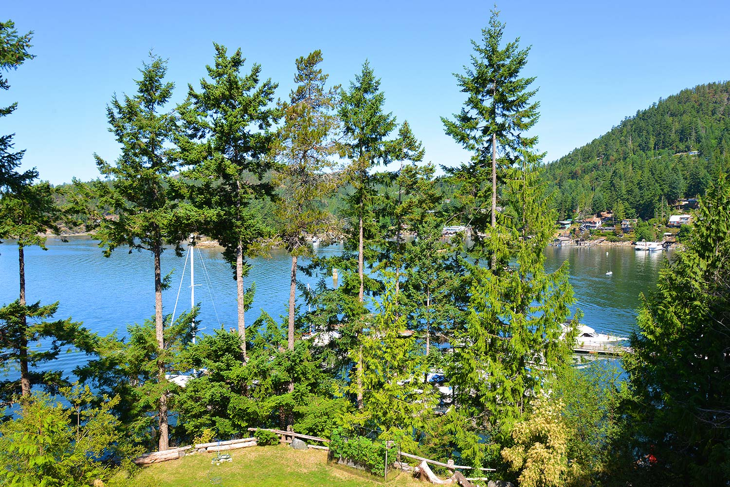 Stunning views of Pender Harbour and tall trees from upstairs of House 65 at John Henry's Marina & Resort.