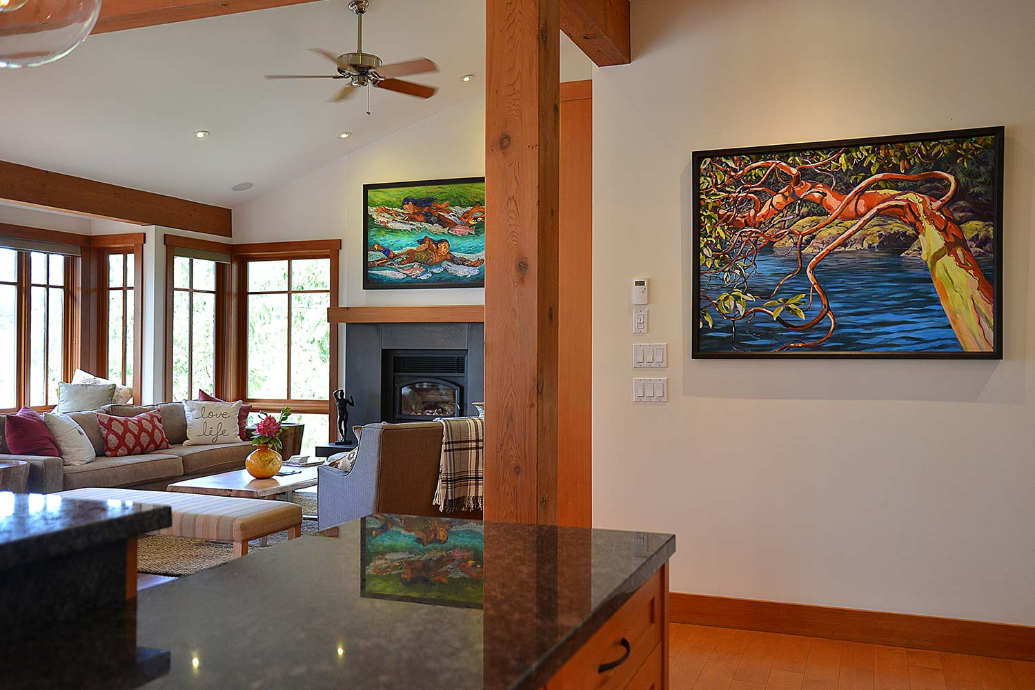 Vibrant artwork in the living room of this luxury Sunshine Coast, British Columbia vacation rental.