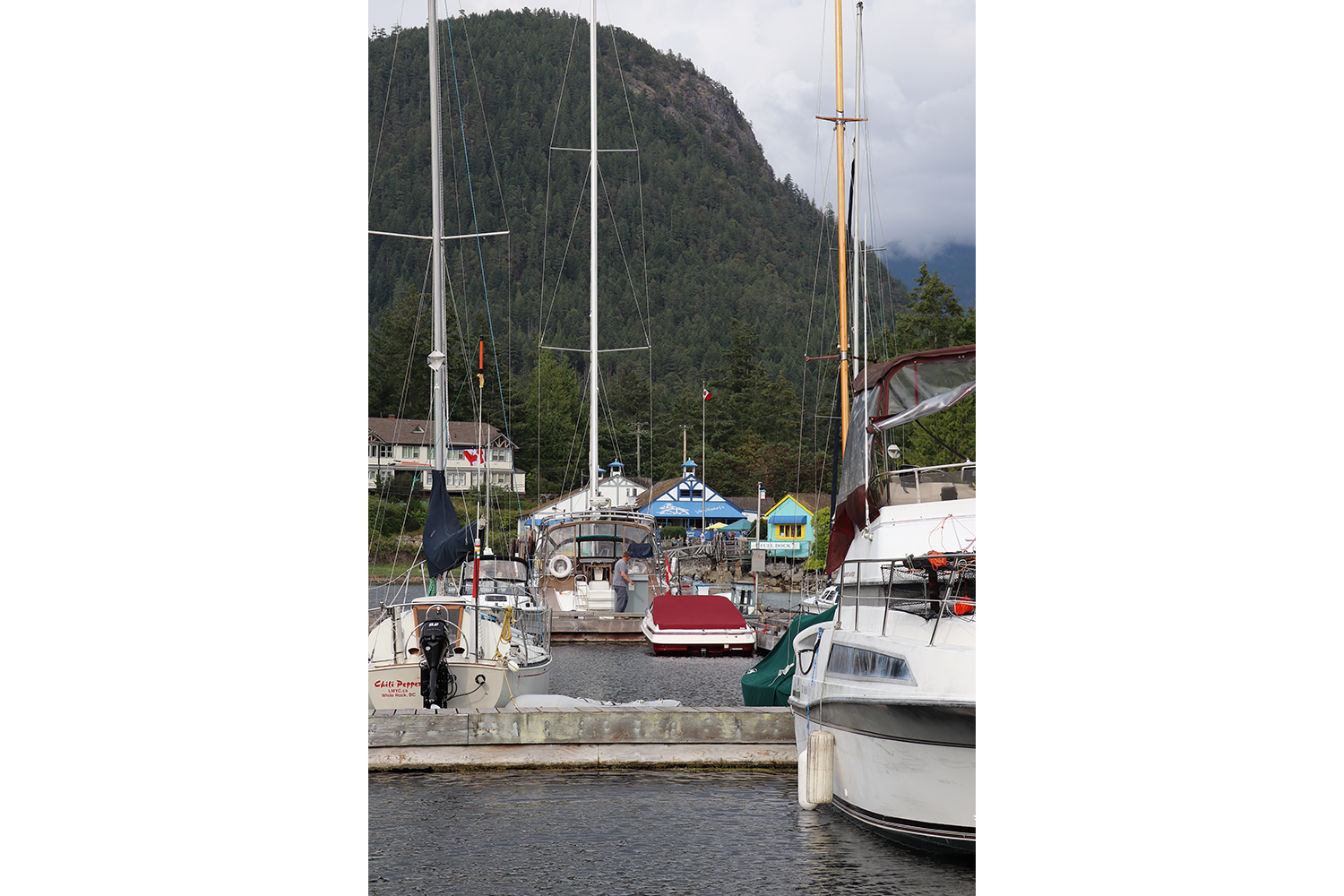 A view from the end of the dock of boats parked in the Marina and John Henry's General Store in the background.