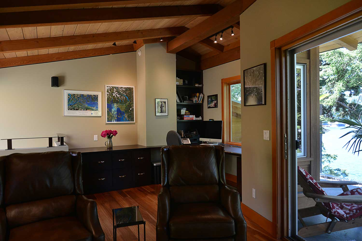 Two comfortable leather recliners in the master upstairs office of this Sunshine Coast accommodation in British Columbia.