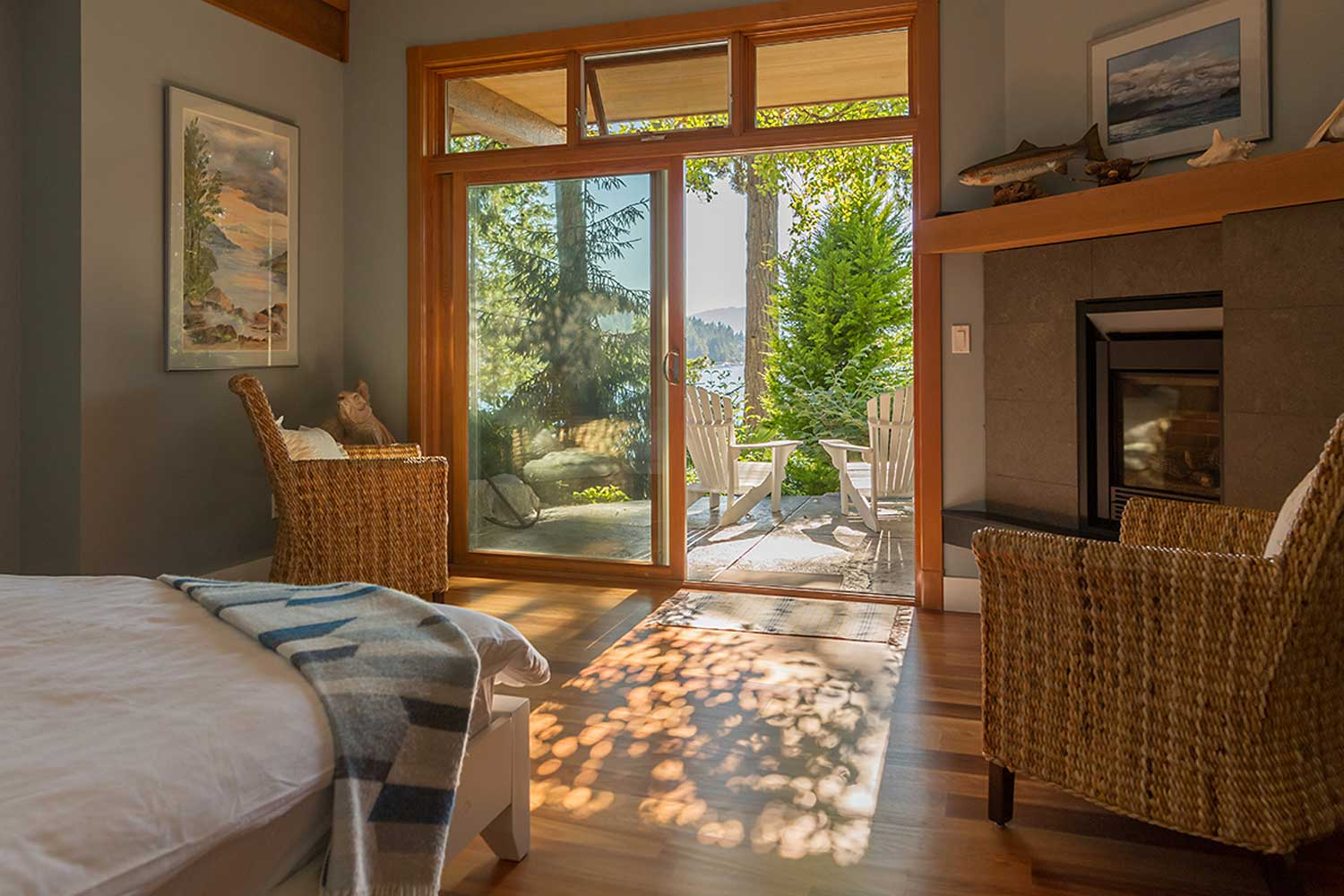 Sunlight shines into one of the bedrooms of this luxury house rental at John Henry's Marina and Resort.