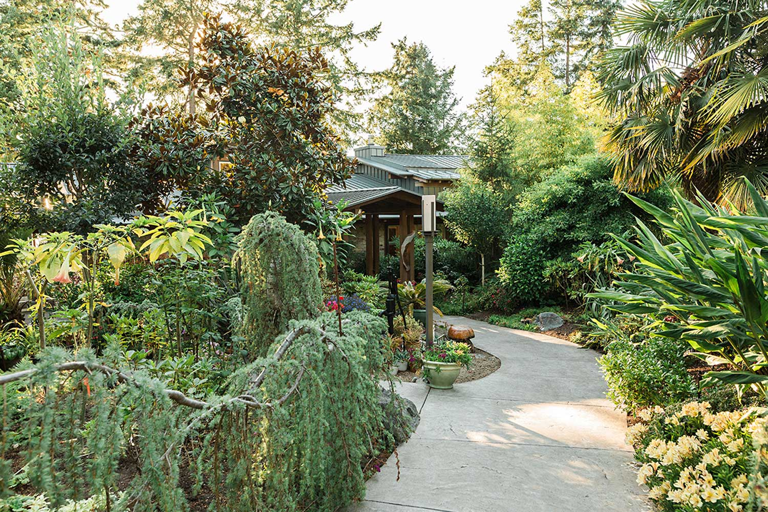 A lush walkway through a manicured garden to the front door of this Sunshine Coast, BC vacation rental.