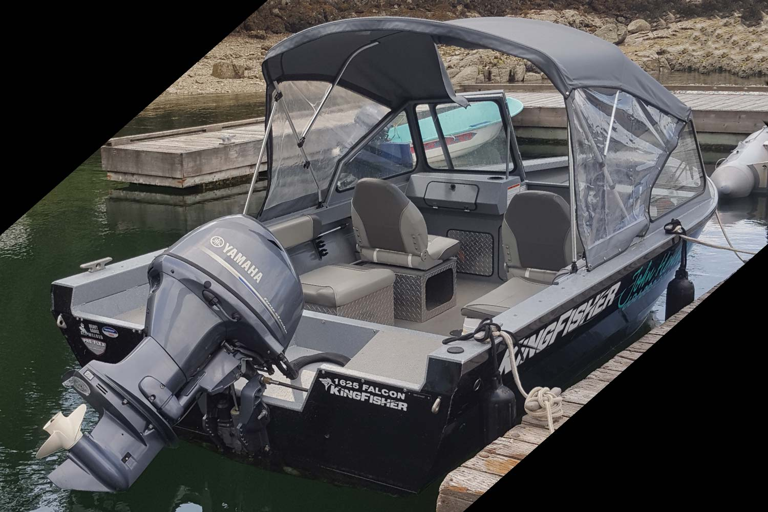 John Henry's powerboat for hire: A 16-foot Kingfisher Falcon powerboat seats 6 people and has a 75HP engine.